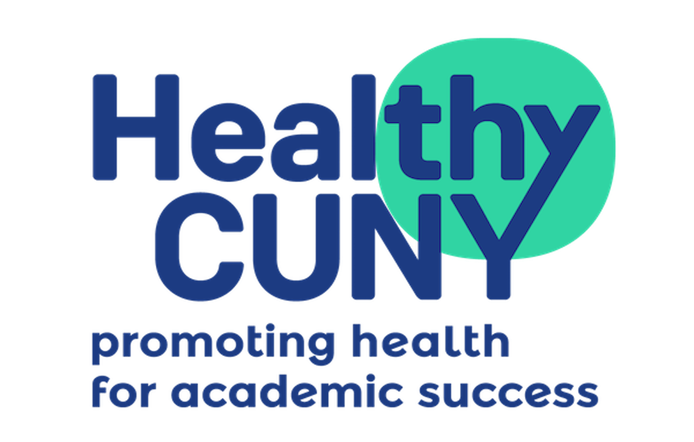 healthy-cuny-two-lines two line logo. The logo reads: Healthy CUNY promoting health for academic success