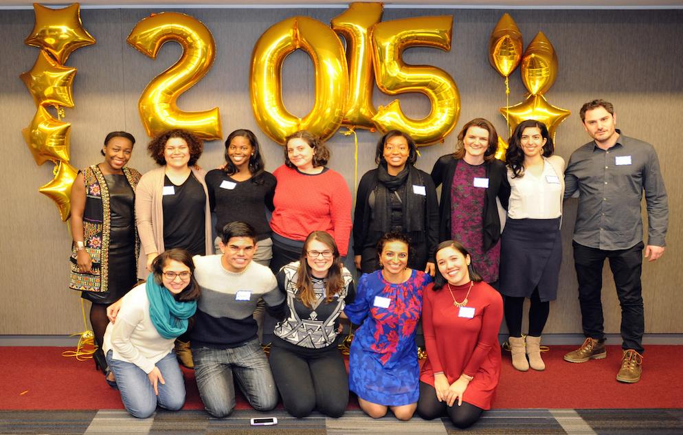 Back_L-R_Nadine, XXX, XXX, Tasia, XXX, XXX, XXX, Michael. Front_L-R_XXX, Javier, Liz Bhlan, Sarika, Iliana Garcia. CUNY SPH Winter Graduation, January 22, 2016, at Harlem campus of CUNY School of Public Health.