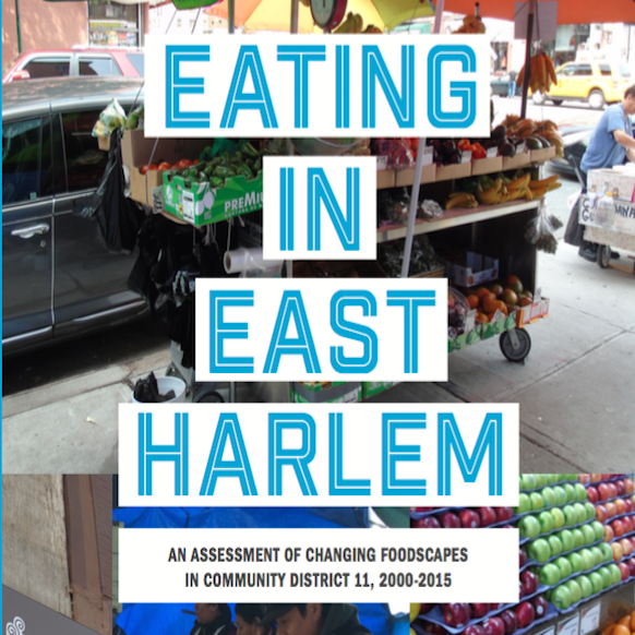 "title slide of ""Eating in East Harlem: An assessment of changing foodscapes in community district 11, 2000-2015"""