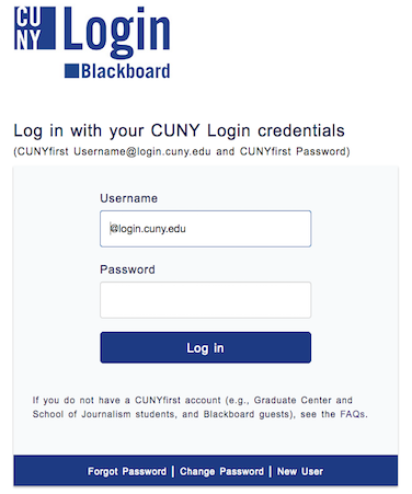Image of the Blackboard Login Screen