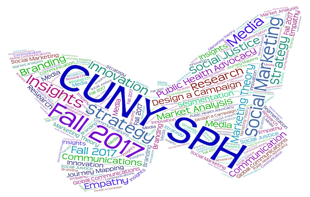 Word cloud in the shape of a butterfly containing text in various colors. Image contains words such as insights, strategy, Fall 2017, Media, andWord cloud in the shape of a butterfly. The image contains text in various colors and words such as insights, strategy, Fall 2017, Media, Empathy, and CUNY SPH. the largest heading which is displayed in blue font.
