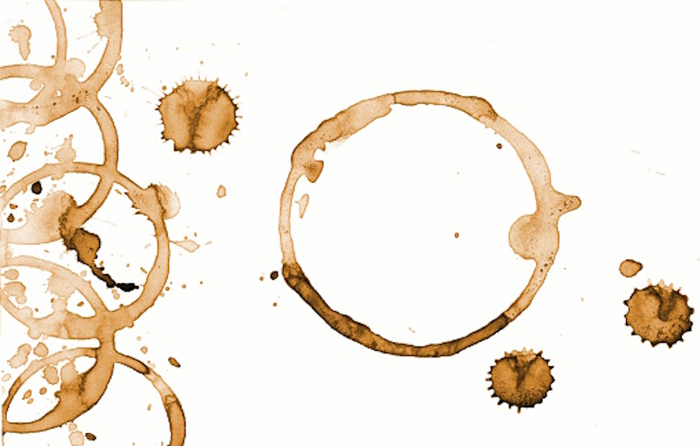Coffee ring stains on a white background