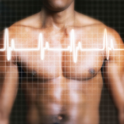 Image of a man's chest with an ECG graph, peaks, and valleys overlaying the picture.