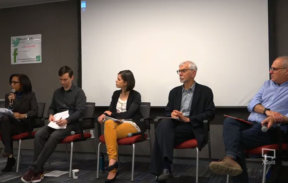 Nick Freudenberg and panelists at the CUNY Urban Food Policy Institute panel: Building a Food Movement in New York in the age of Trump