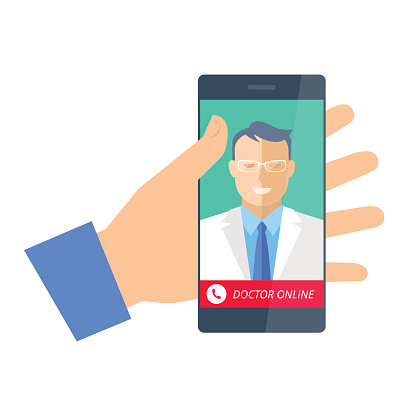 Modern flat design vector illustration of a hand holding a smartphone containing a picture of a man dressed as a doctor on the screen. A phone icon appears along a red banner at the bottom of the screen and the banner reads: Doctor Online.
