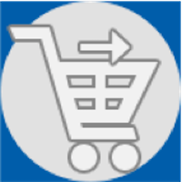 Icon of a shopping cart with an arrow pointing towards the right, indicating the check-out step of an online transaction