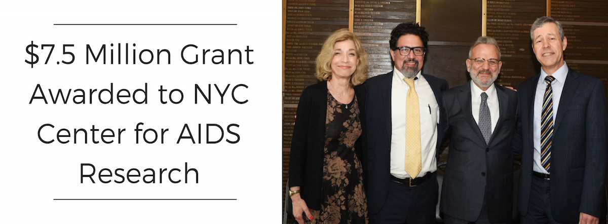 Slide with photo of CFAR grant recipients, including Dr. Denis Nash. Headline on the left reads: $7.5 million grant awarded to NYC Center for AIDS research