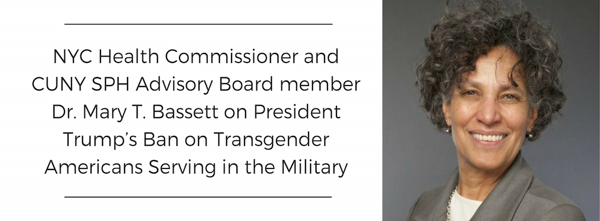 NYC Health Commissioner Mary T. Bassett photo and headline linking to statement on rcent ban on transgendered people in the military
