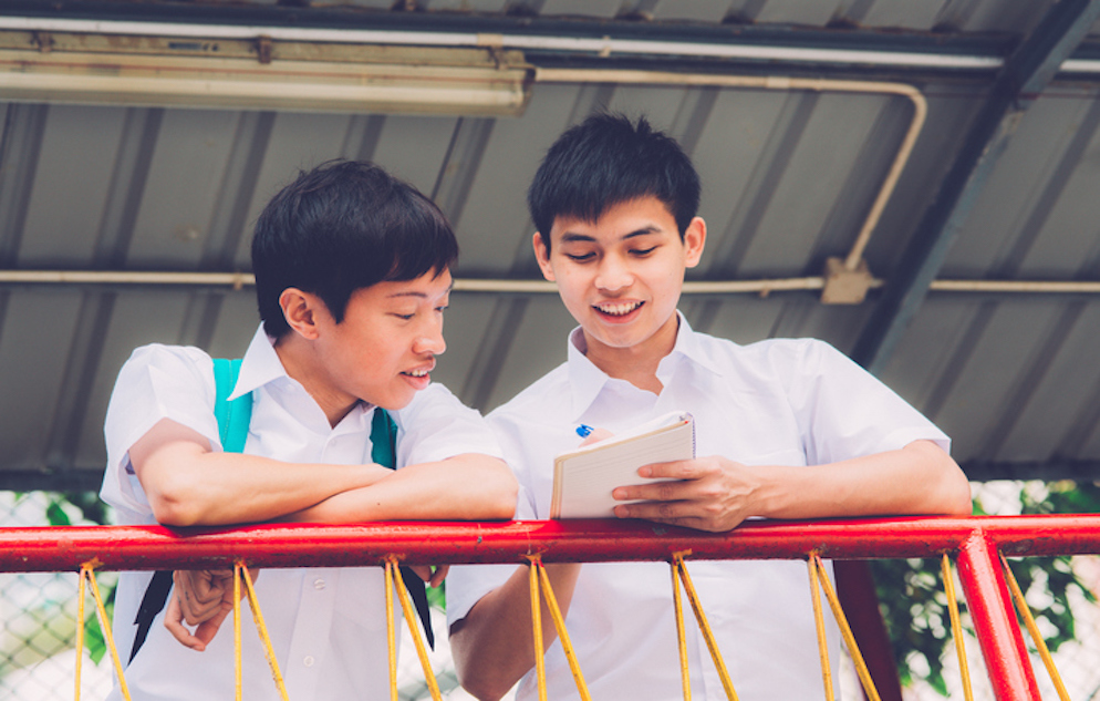 Two happy male Chinese students studying outdoors during break, Hong Kong, China, Asia. Waist up. Nikon D800, full frame, XXXL.