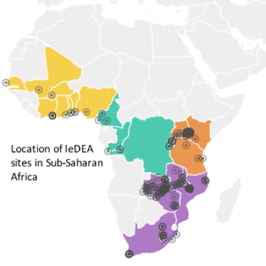 Map of regions covered by the IeDEA network