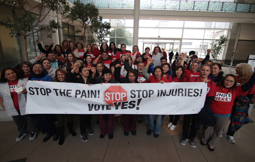 UNITE HERE! successfully drives policy change to reduce injuries among hospitality workers in California.