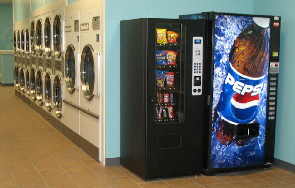 Vending machines at a laundromat