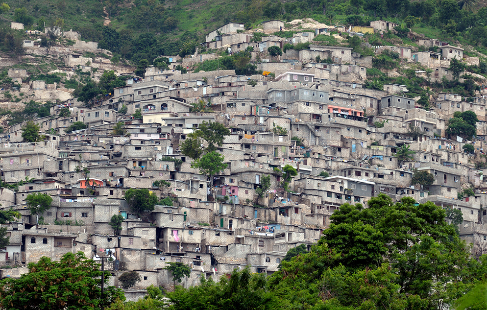 Slum housing on the outskirts of Port au Prince