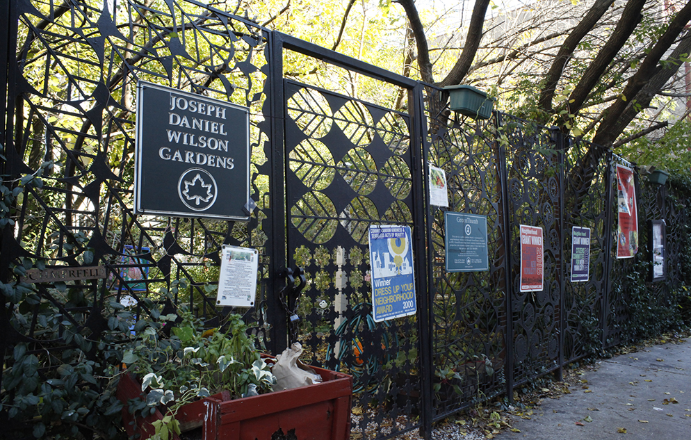 Entrance to the Joseph Daniel Wilson Gardens in Harlem