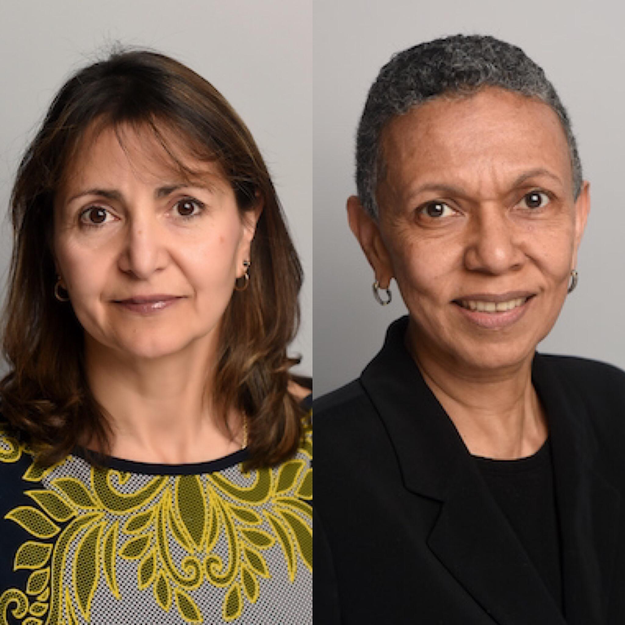 Associate Professor Diana Romero (left) and Distinguished Professor Luisa N. Borrell
