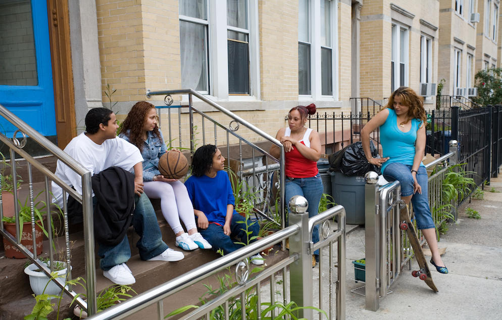 young people on stoop