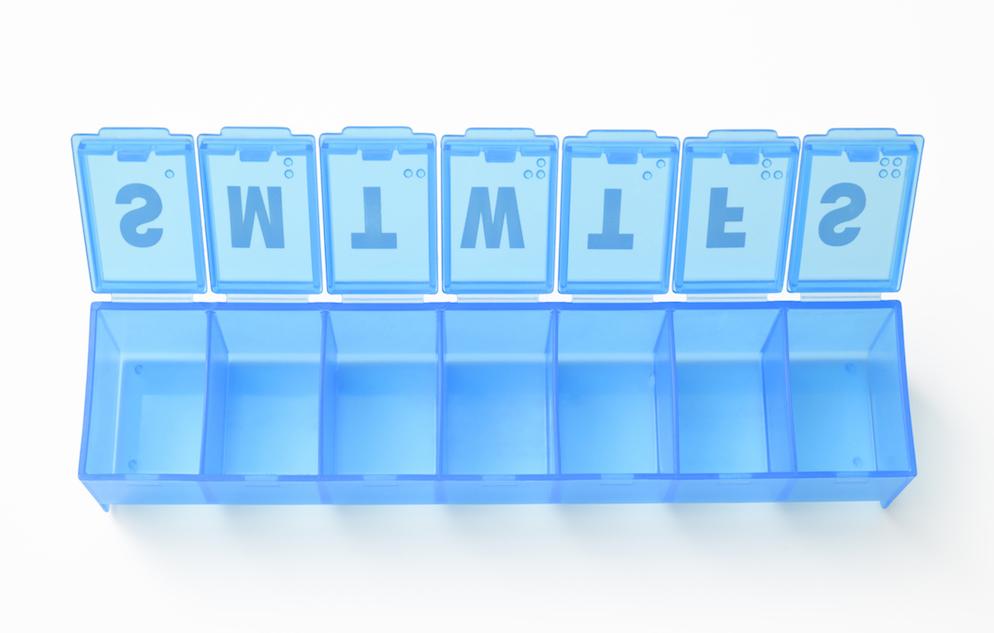 blue SMTWTFS pill box