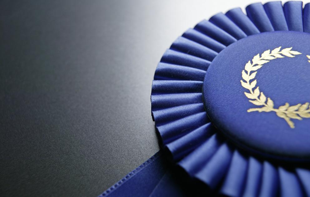 Close up of blue ribbon