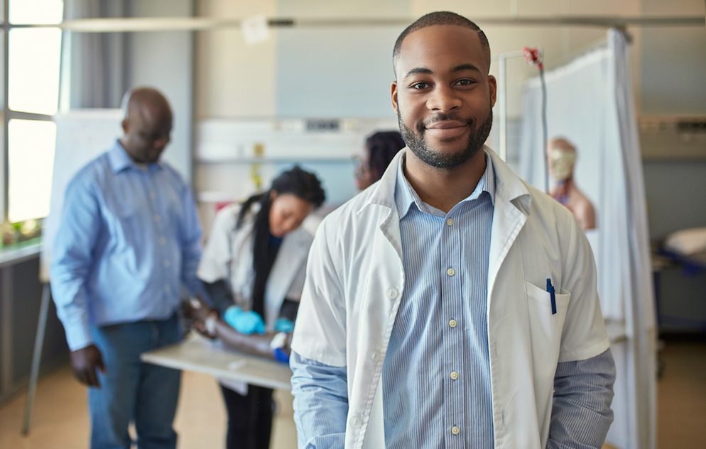 Smiling male medical student