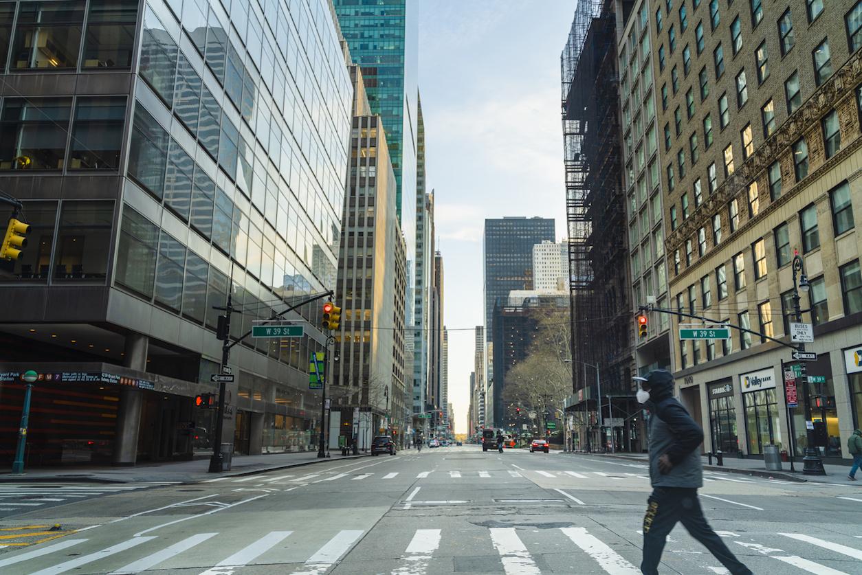 Midtown Manhattan deserted due to COVID-19 coronavirus pandemic