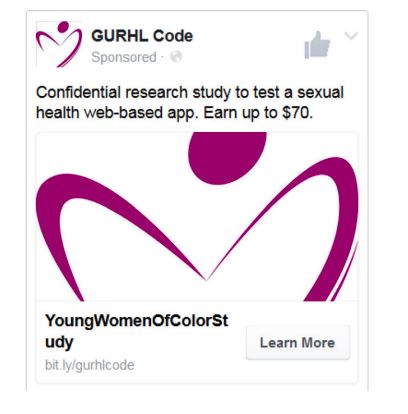 Social media ads used to recruit women of color for a RCT.