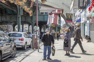 shoppers in Astoria, NY
