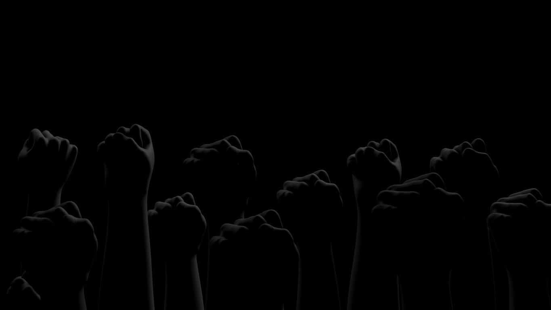 Black fists on black background