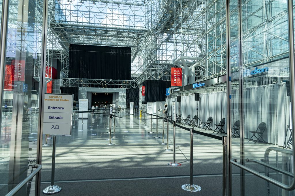 empty vaccination site at Javits Center