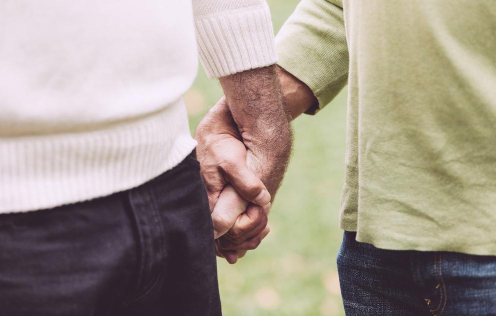 Men Holding Hands at Park