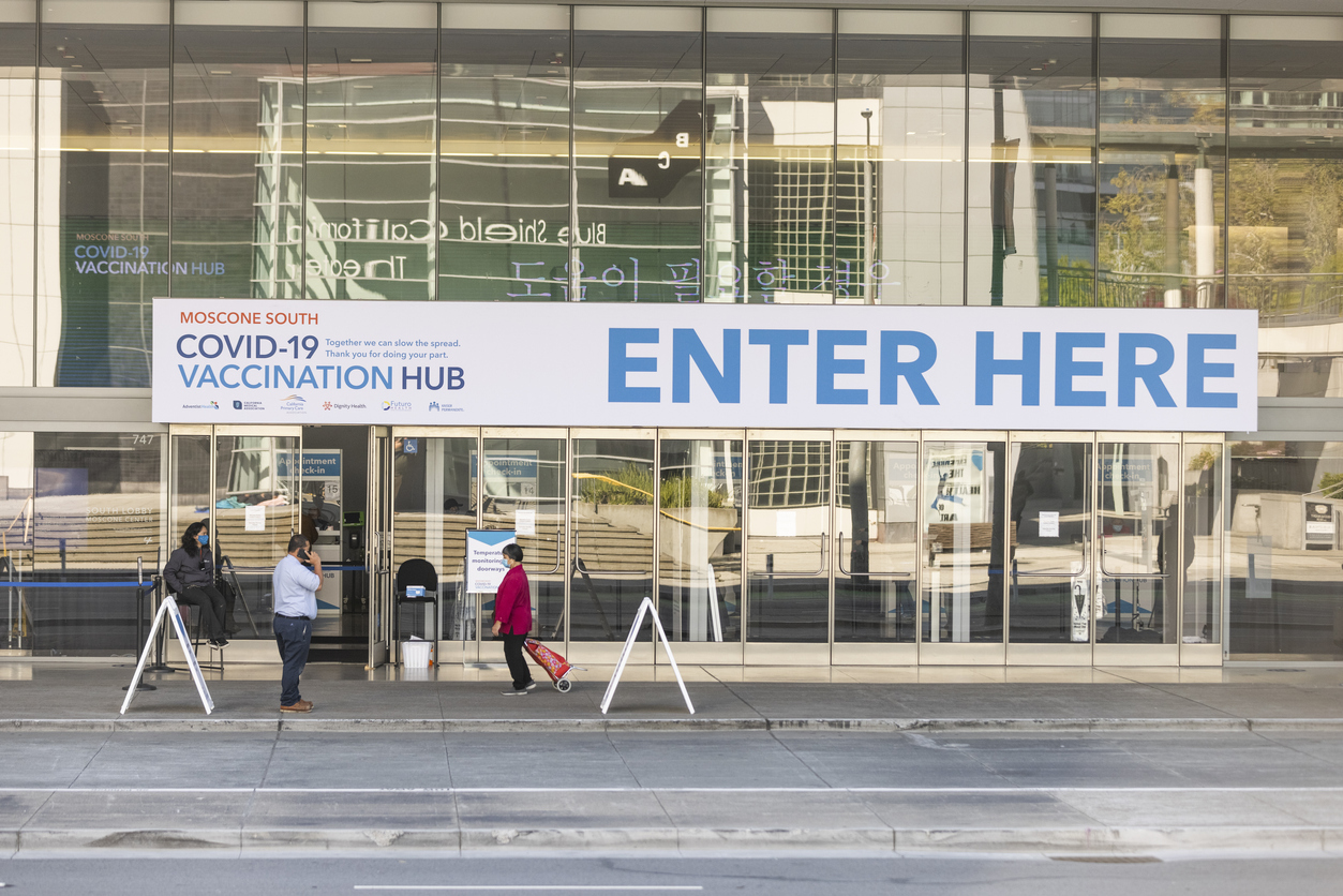 Vaccination hub in San Francisco's Moscone Center administers the Pfizer vaccination daily.